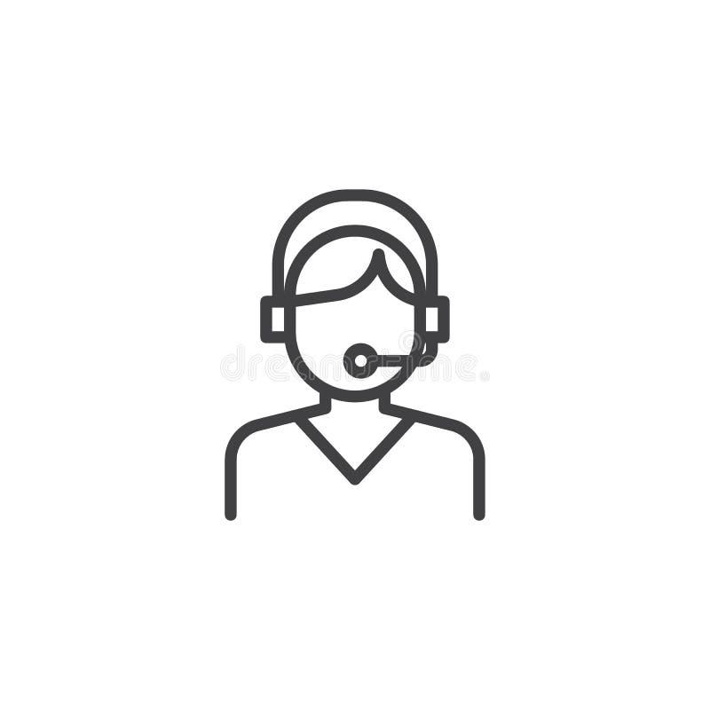 Línea icono del operador de la ayuda stock de ilustración