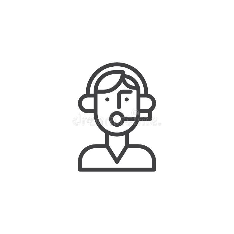 Línea icono del operador del encargado de la ayuda libre illustration