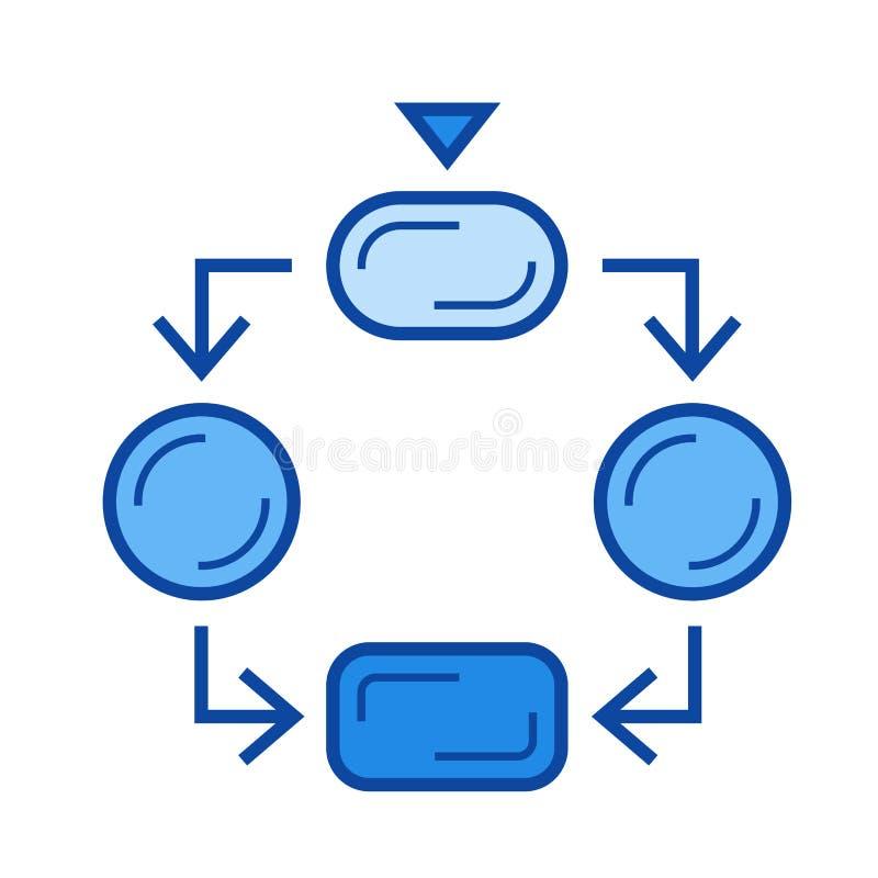 Línea icono del organigrama stock de ilustración