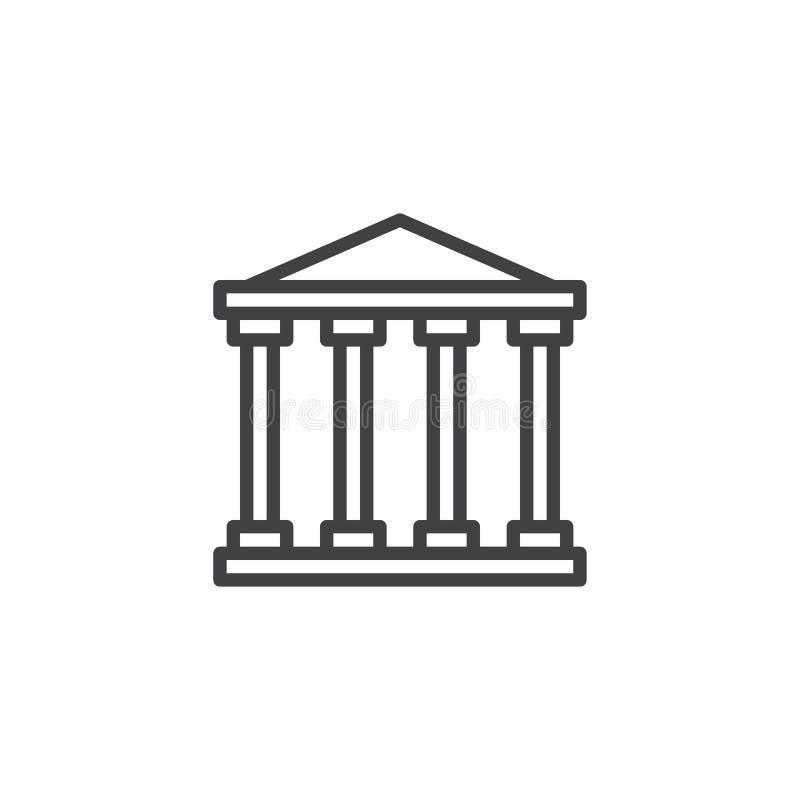 Línea icono del Palacio de Justicia ilustración del vector