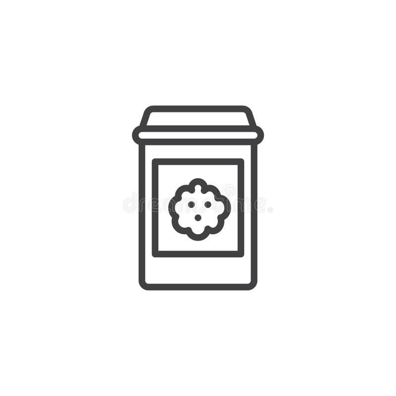 Línea icono del paquete de las galletas del microprocesador ilustración del vector