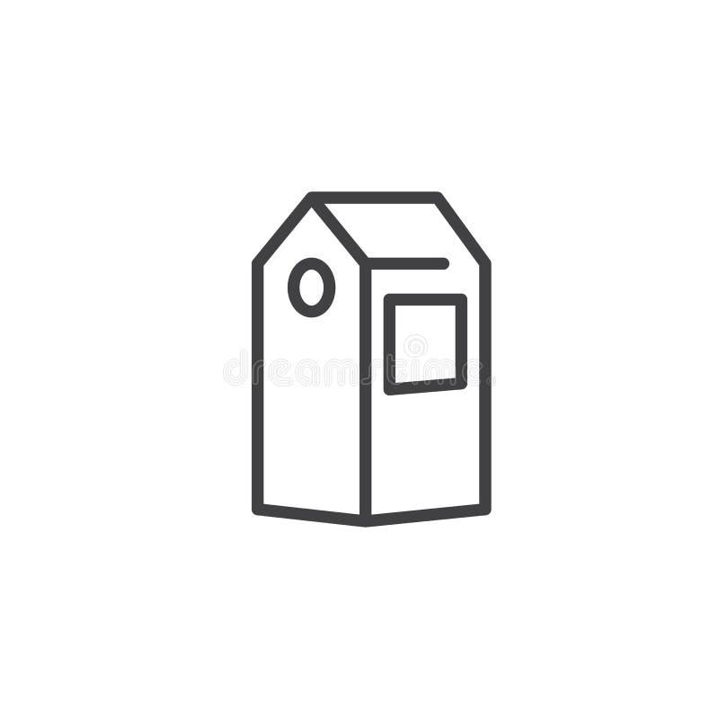 Línea icono del paquete del papel del jugo stock de ilustración