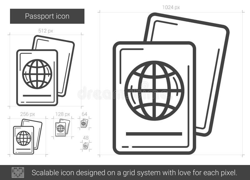 Línea icono del pasaporte stock de ilustración