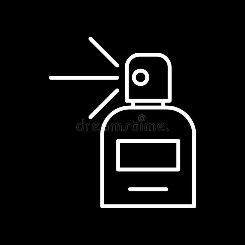 Línea icono del perfume Botella con el ejemplo del vector del perfume aislado en negro Diseño del estilo del esquema del aroma, d ilustración del vector