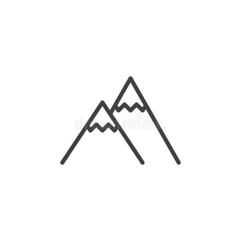 L?nea icono del pico de monta?a stock de ilustración