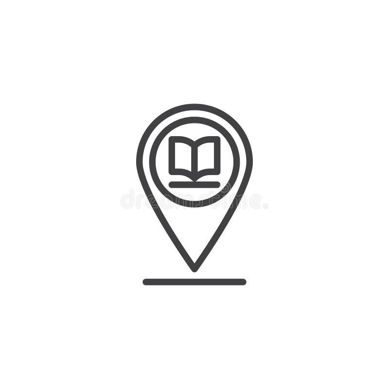 Línea icono del placeholder de la biblioteca ilustración del vector