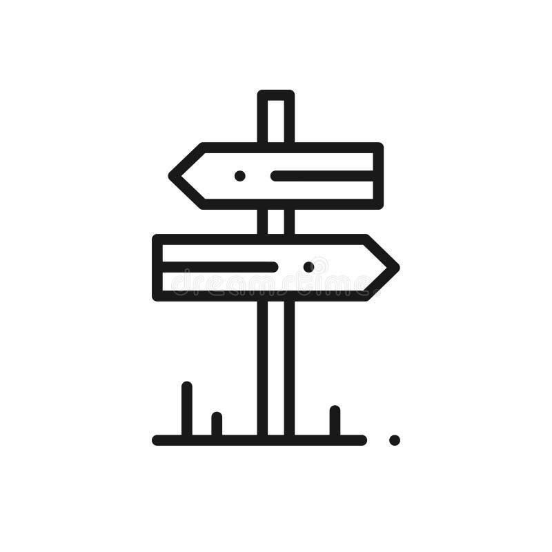 Línea icono del poste indicador Señal de tráfico y símbolo Dirección Roadsign stock de ilustración