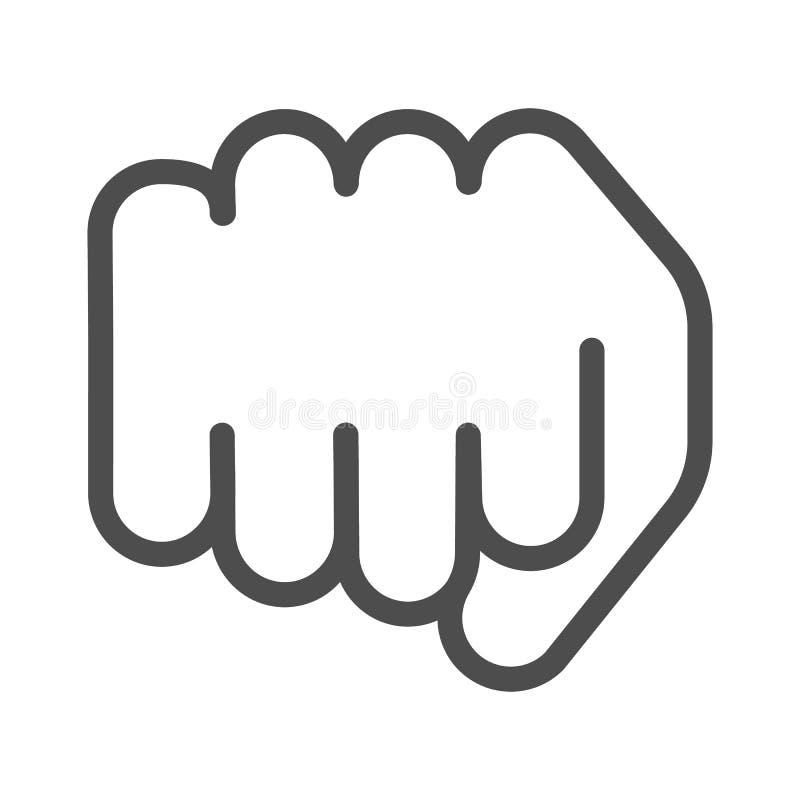 Línea icono del puño Ejemplo delantero del vector del sacador aislado en blanco Diseño del estilo del esquema del gesto del poder libre illustration