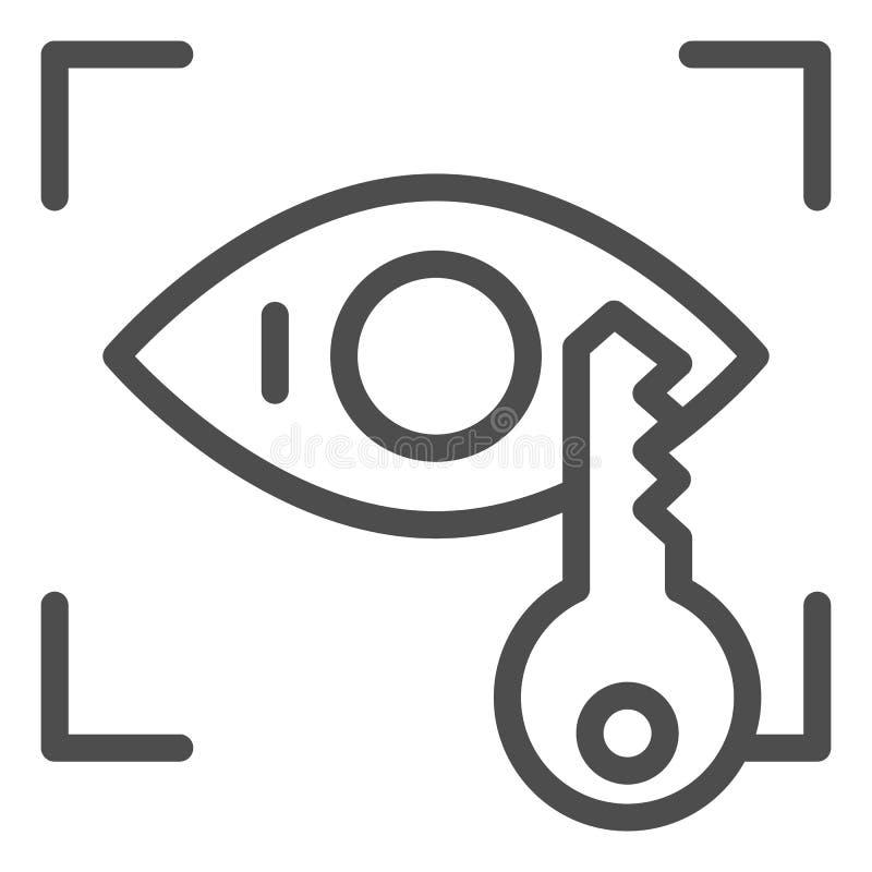 Línea icono del reconocimiento de la retina Identificación del ojo y ejemplo dominante del vector aislados en blanco Esquema biom stock de ilustración