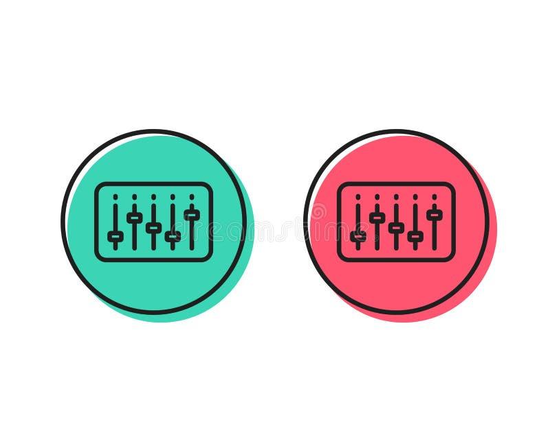 Línea icono del regulador de DJ Muestra de la música Vector ilustración del vector