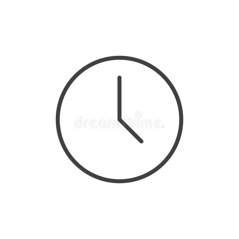 Línea icono del reloj ilustración del vector