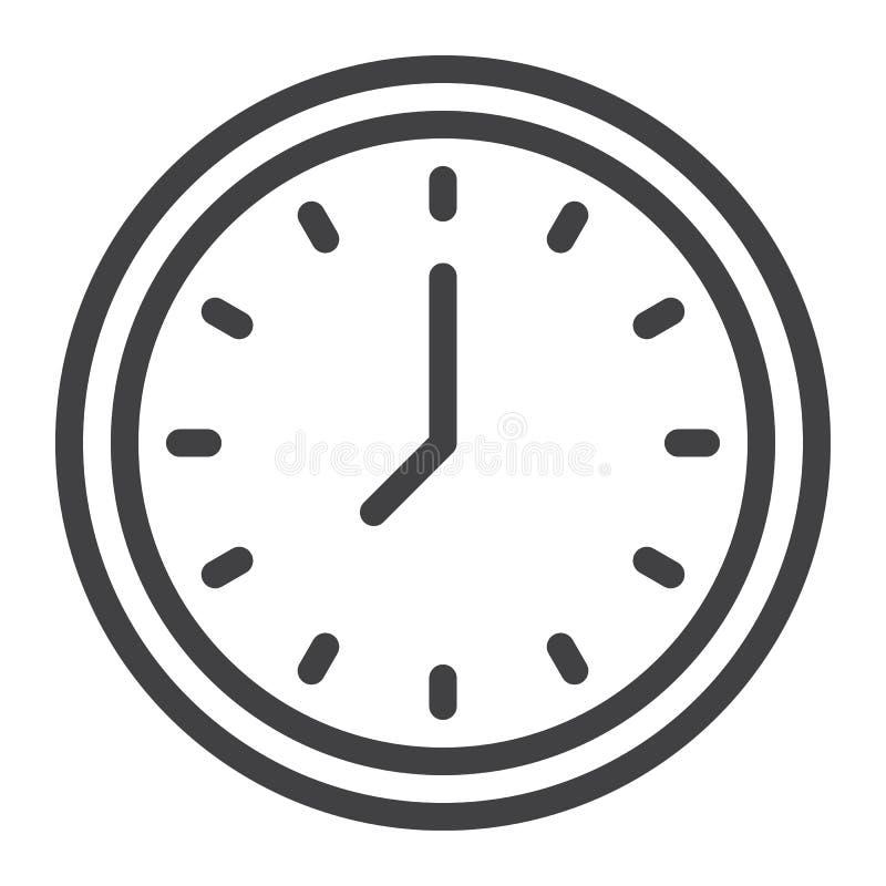 Línea icono del reloj stock de ilustración