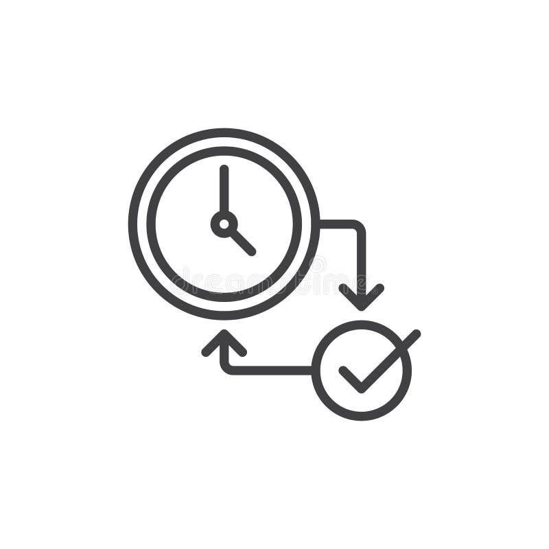 Línea icono del reloj y de la marca de cotejo ilustración del vector