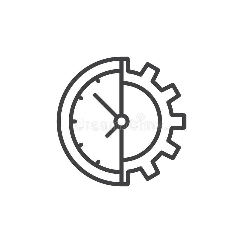 Línea icono del reloj y del engranaje stock de ilustración