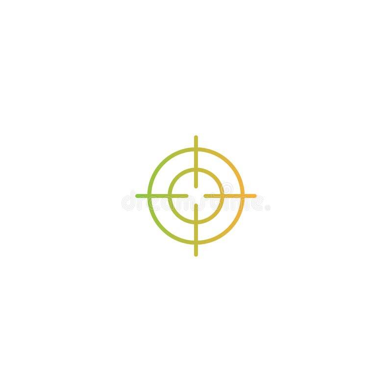 Línea icono del retículo de la blanco Objetivo, meta, muestra del foco pictograma anaranjado y verde de la pendiente libre illustration