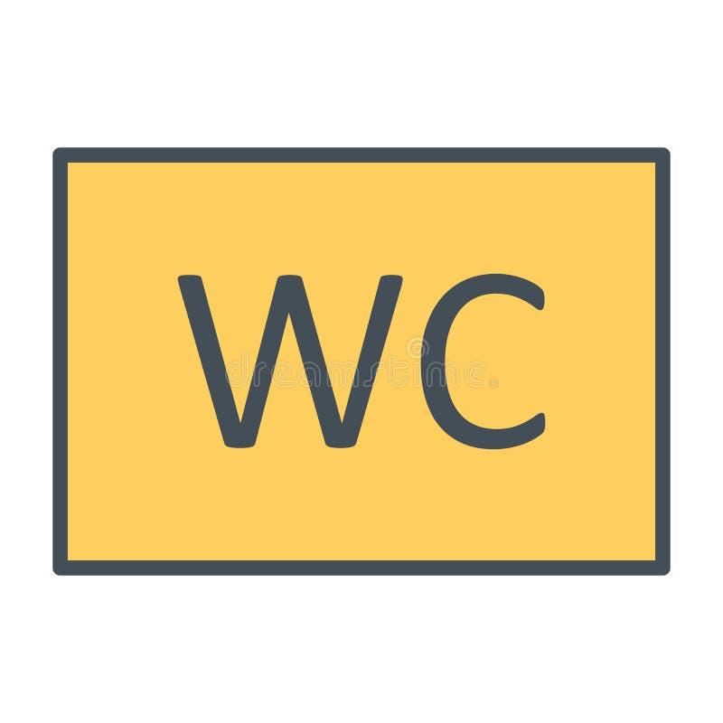 Línea icono del retrete del WC Pictograma mínimo simple 96x96 del vector stock de ilustración