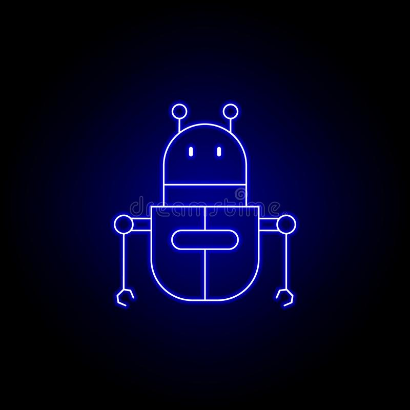 línea icono del robot en estilo de neón azul Las muestras y los s?mbolos se pueden utilizar para la web, logotipo, app m?vil, UI, libre illustration