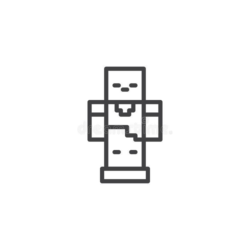 Línea icono del robot del pixel ilustración del vector