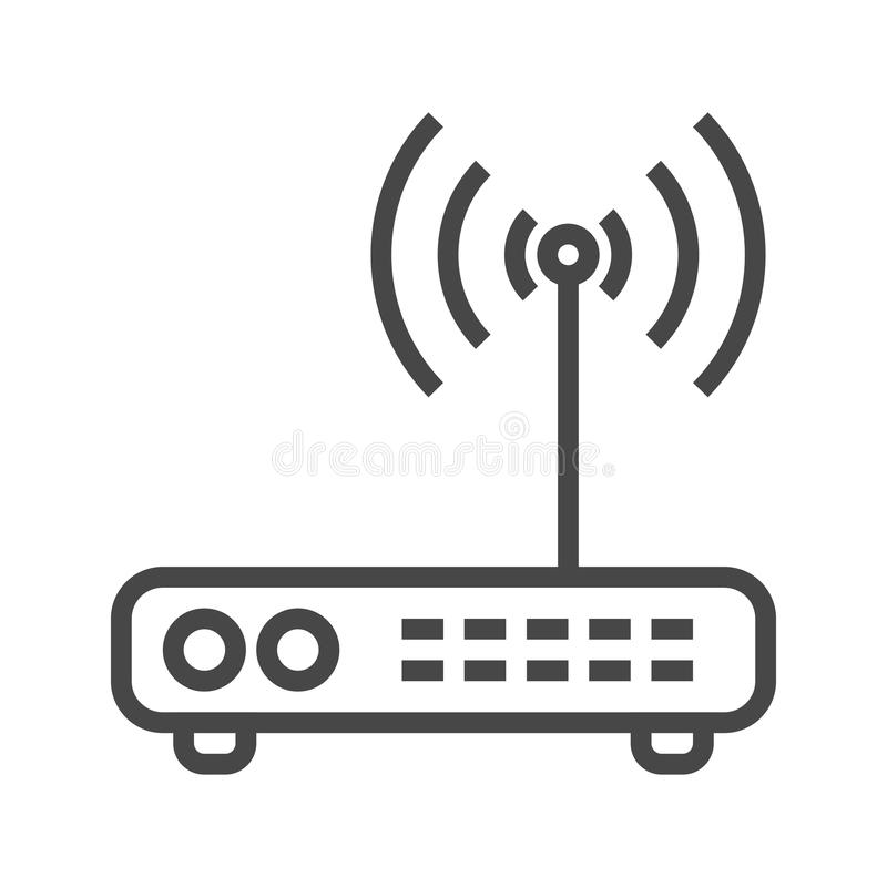 Línea icono del router ilustración del vector