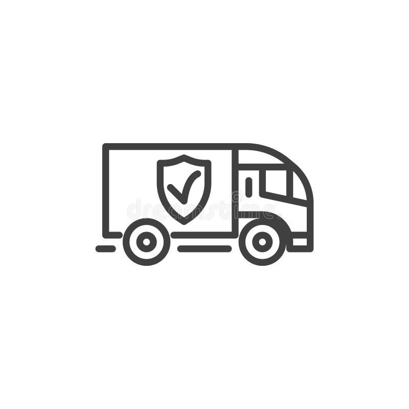 Línea icono del seguro de la logística libre illustration