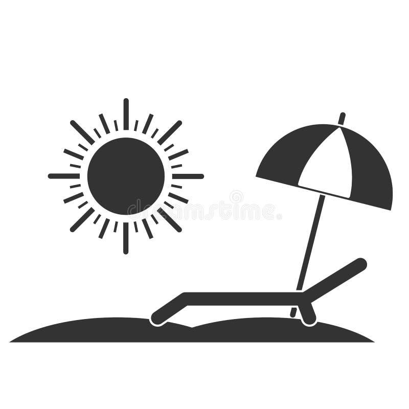 Línea icono del sillón Cubierta-silla, sol y paraguas en una playa Relajación, viaje, símbolo de las vacaciones Ilustración del v ilustración del vector
