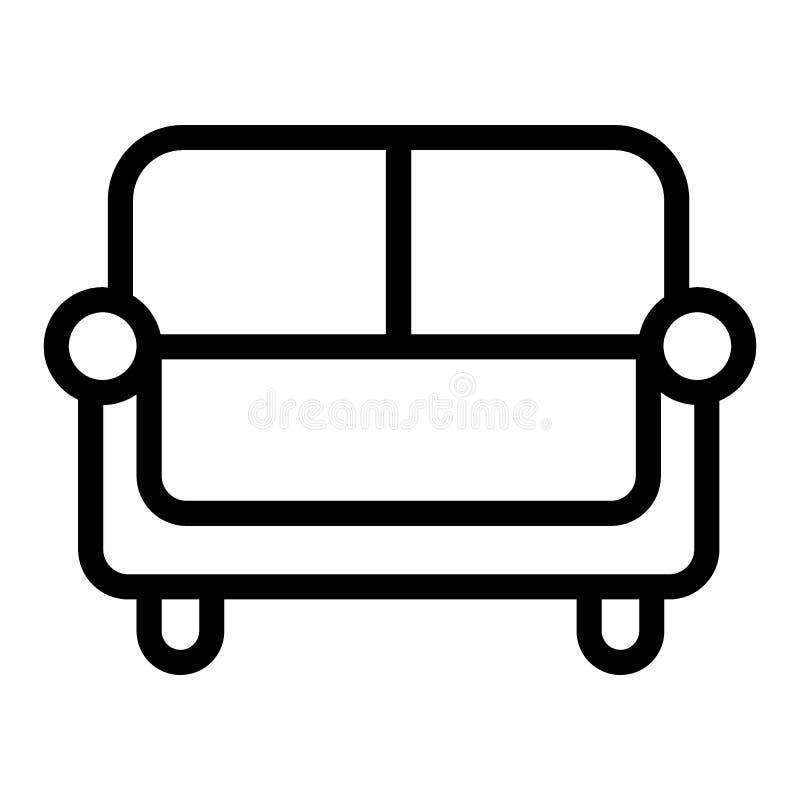 Línea icono del sofá Ejemplo del vector del sofá aislado en blanco Diseño del estilo del esquema del diván, diseñado para la web  libre illustration