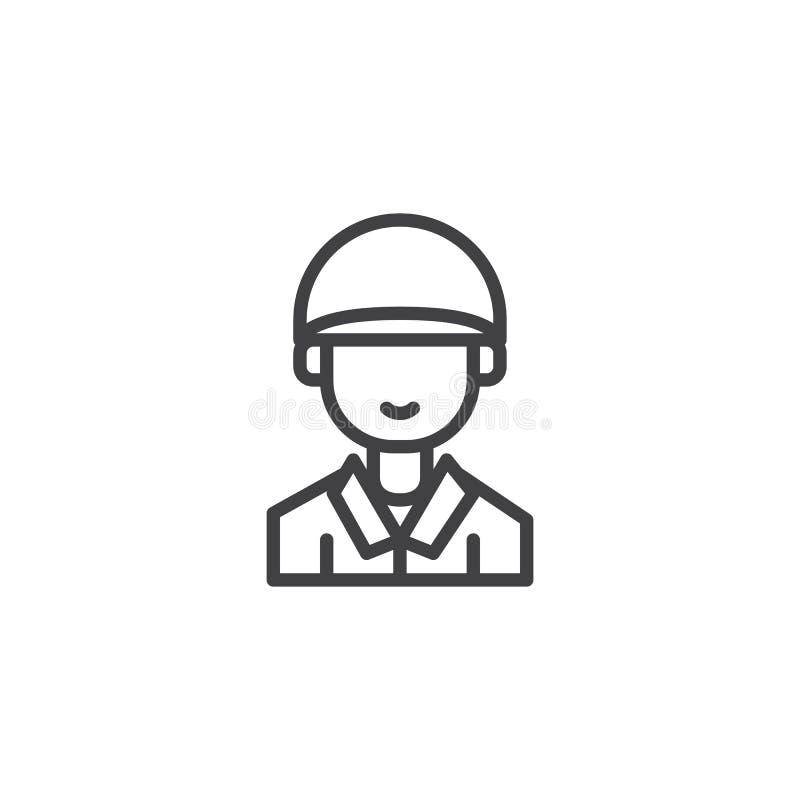 Línea icono del soldado stock de ilustración