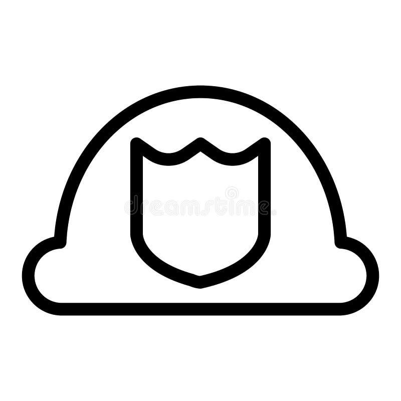 Línea icono del sombrero del bombero Ejemplo del vector del casco del bombero aislado en blanco Diseño uniforme del estilo del es ilustración del vector