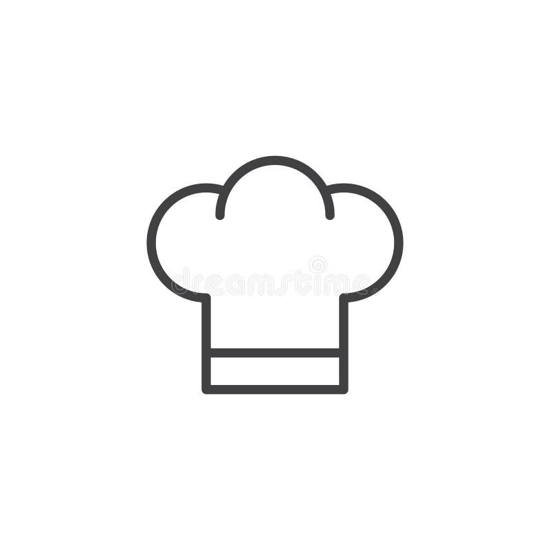 Línea icono del sombrero del cocinero libre illustration