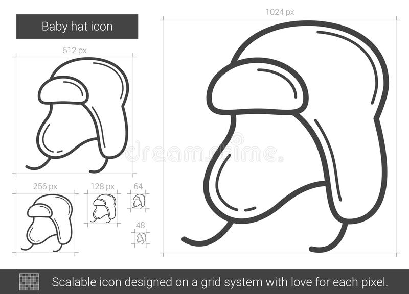 Línea icono del sombrero del bebé stock de ilustración
