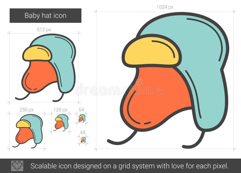 Línea icono del sombrero del bebé ilustración del vector