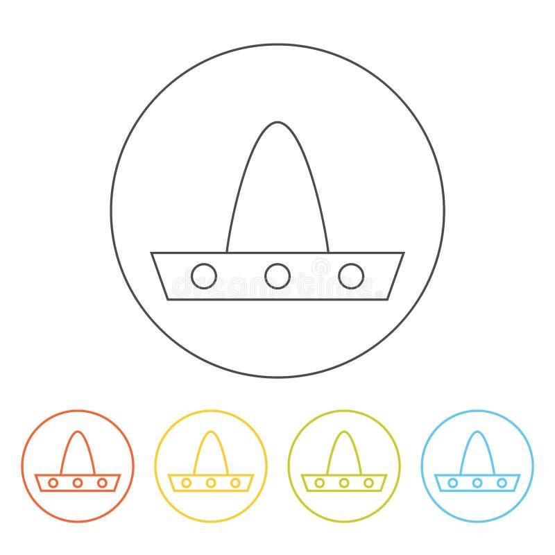 Línea icono del sombrero del vector ilustración del vector