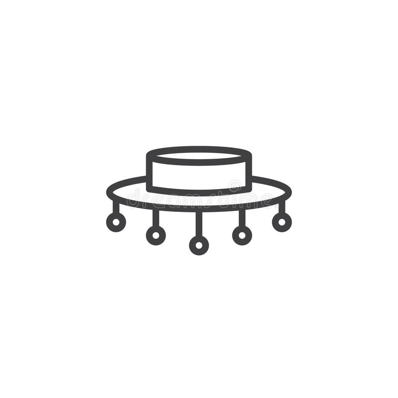 Línea icono del sombrero del flamenco stock de ilustración