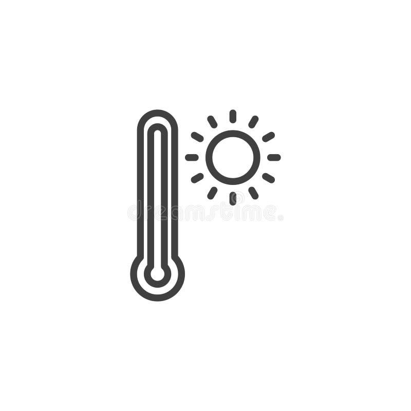Línea icono del termómetro y del sol ilustración del vector