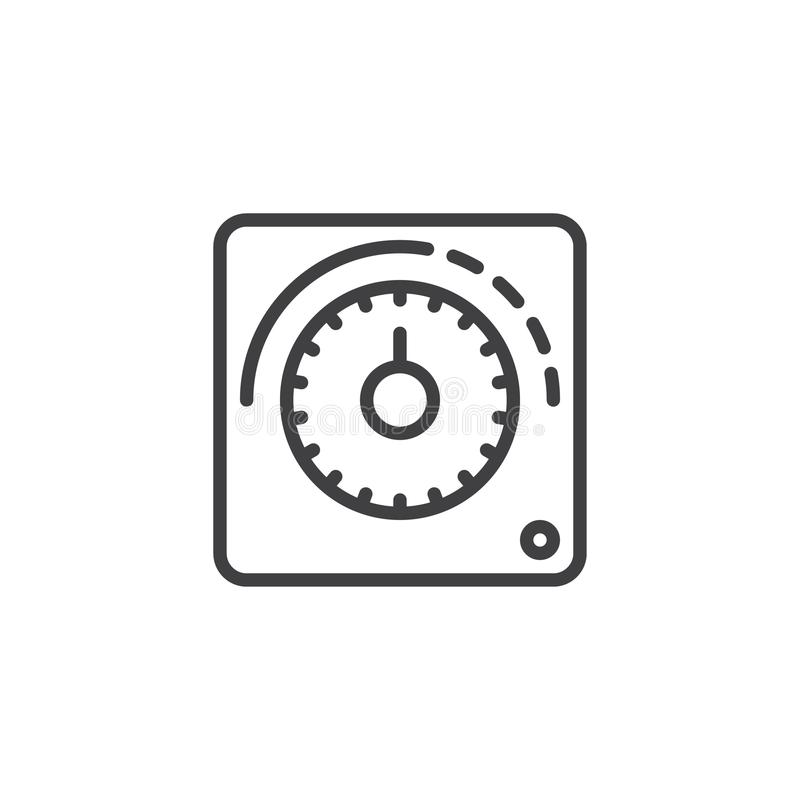 Línea icono del termóstato stock de ilustración