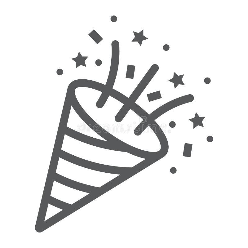 Línea icono del tostador de palomitas de maíz del confeti, partido y decoración, muestra del petardo, gráficos de vector, un mode libre illustration