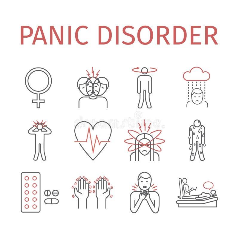 Línea icono del trastorno de pánico infographic Ilustración del vector stock de ilustración