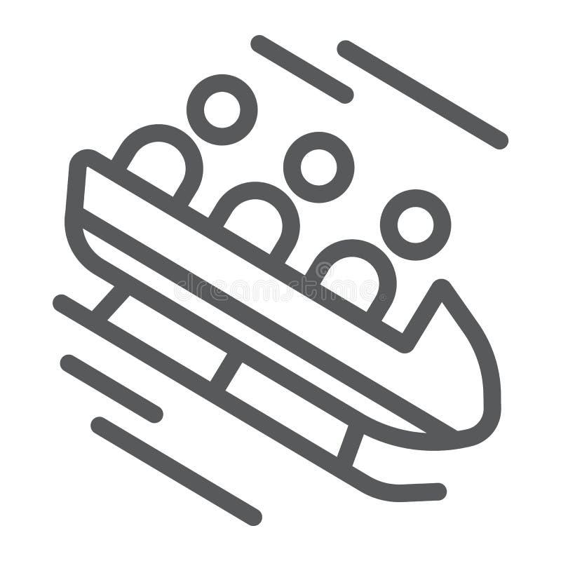 Línea icono del trineo, deporte e invierno, muestra del trineo, gráficos de vector, un modelo linear en un fondo blanco libre illustration