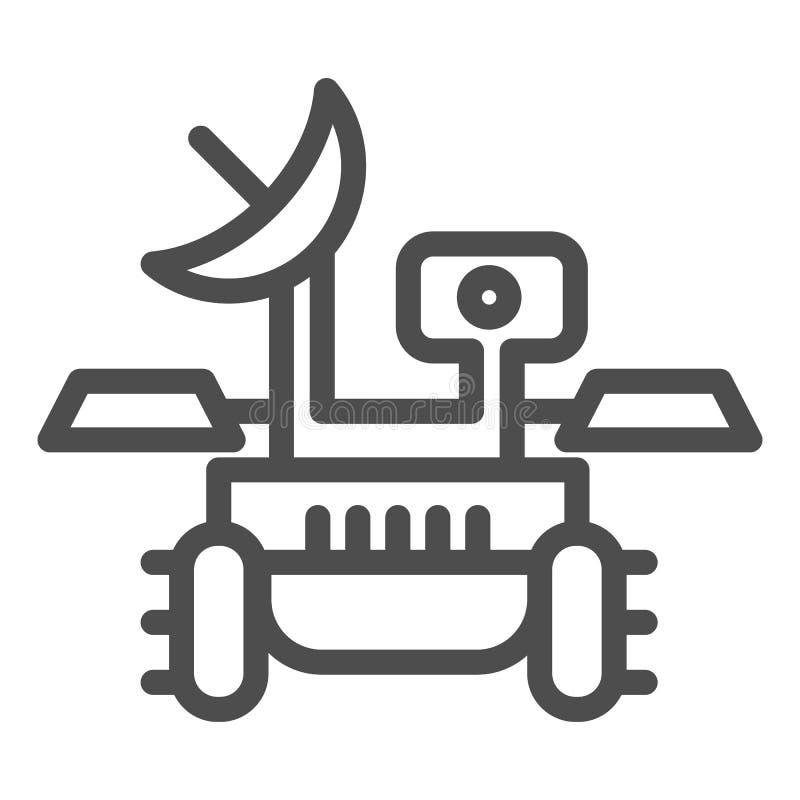 Línea icono del vagabundo de Marte Ejemplo del vector del viajero del módulo de la investigación aislado en blanco Diseño del est ilustración del vector