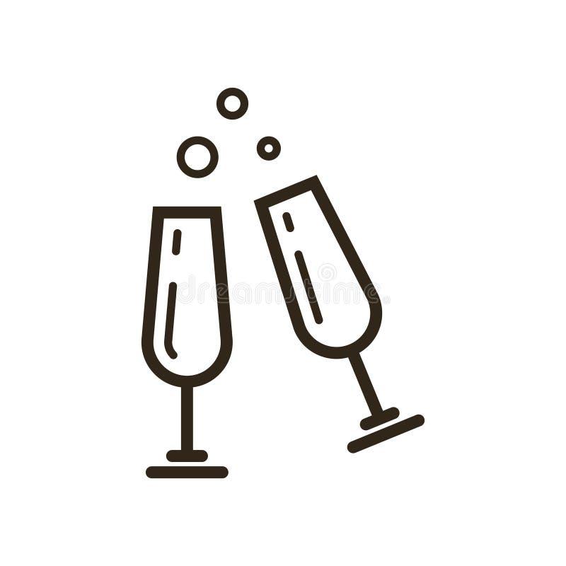 Línea icono del vector del arte de dos vidrios con champán libre illustration