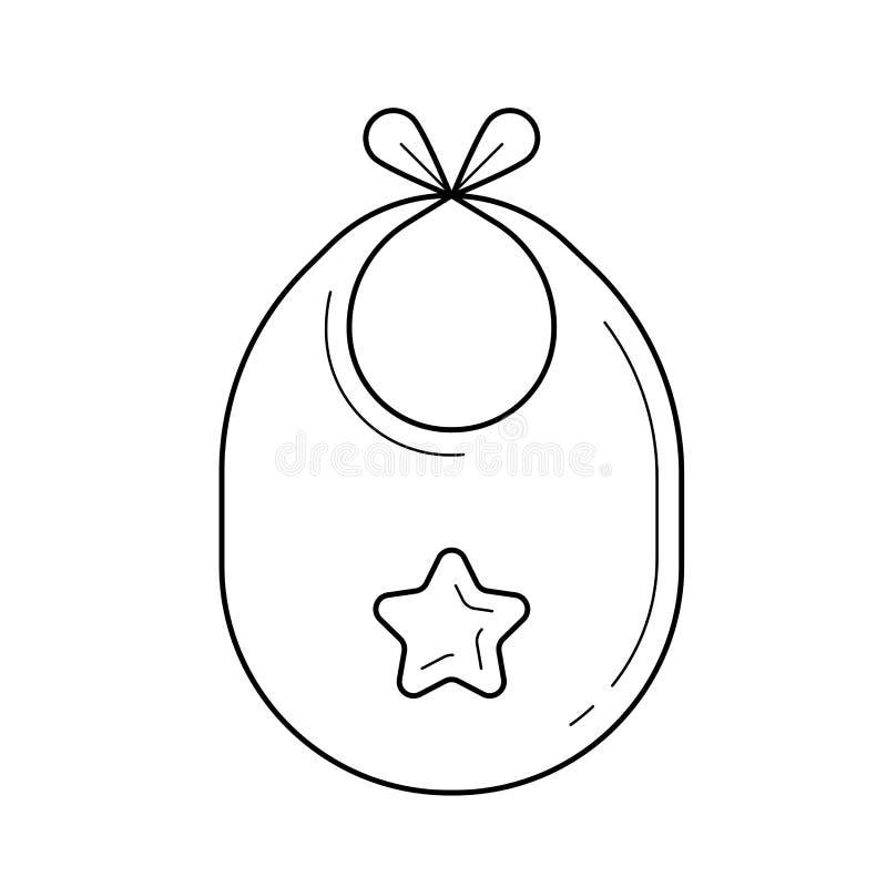 Línea icono del vector del babero del bebé ilustración del vector