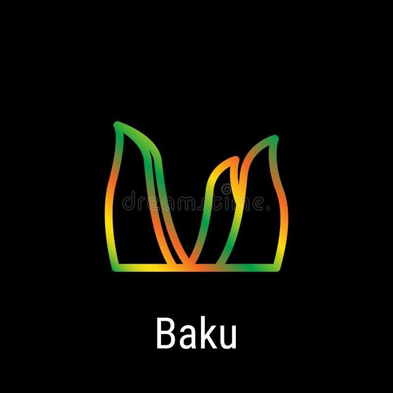 Línea icono del vector de Baku, Azerbaijan stock de ilustración