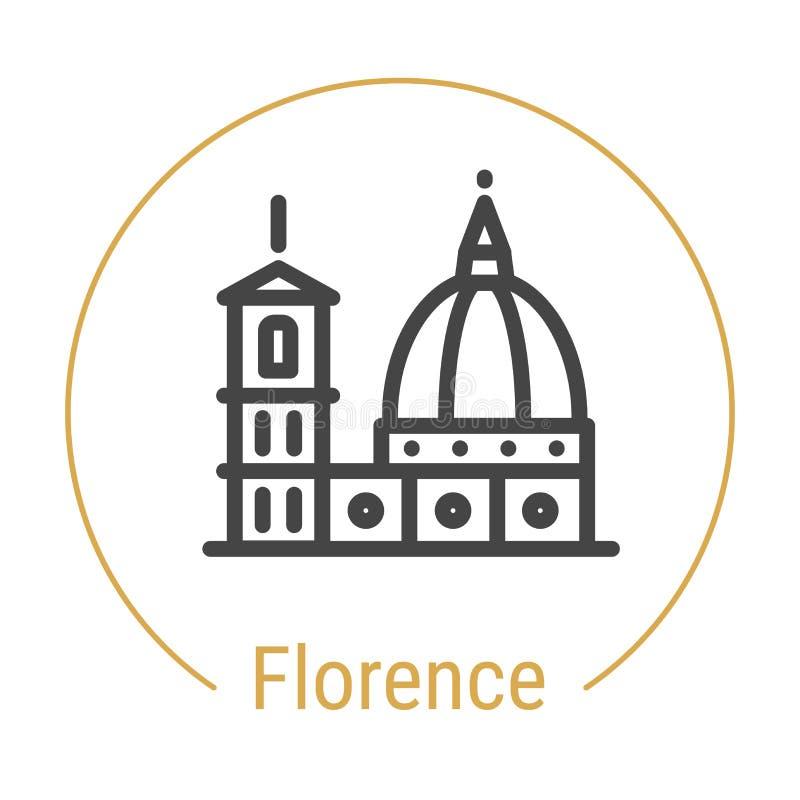 Línea icono del vector de Florencia, Italia libre illustration