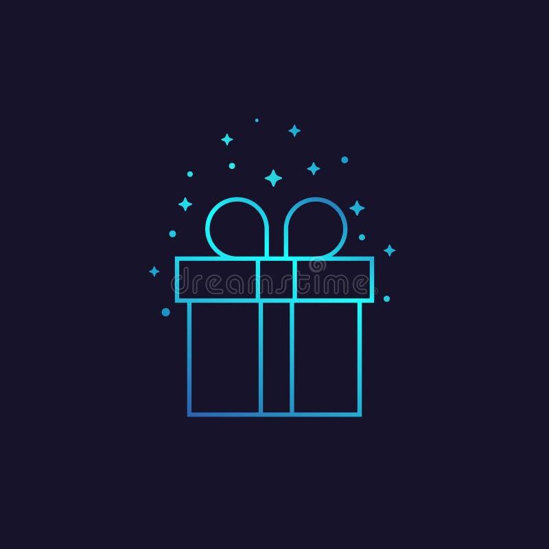 Línea icono del vector de la caja de regalo libre illustration