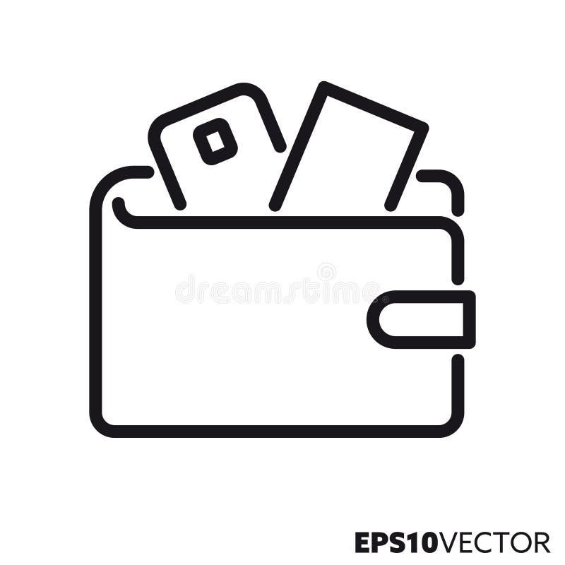 Línea icono del vector de la cartera libre illustration