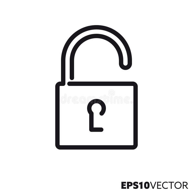 Línea icono del vector de la cerradura abierta libre illustration