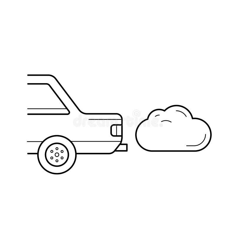 Línea icono del vector de la emisión de CO2 stock de ilustración