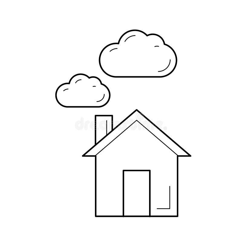 Línea icono del vector de la emisión del dióxido de carbono ilustración del vector
