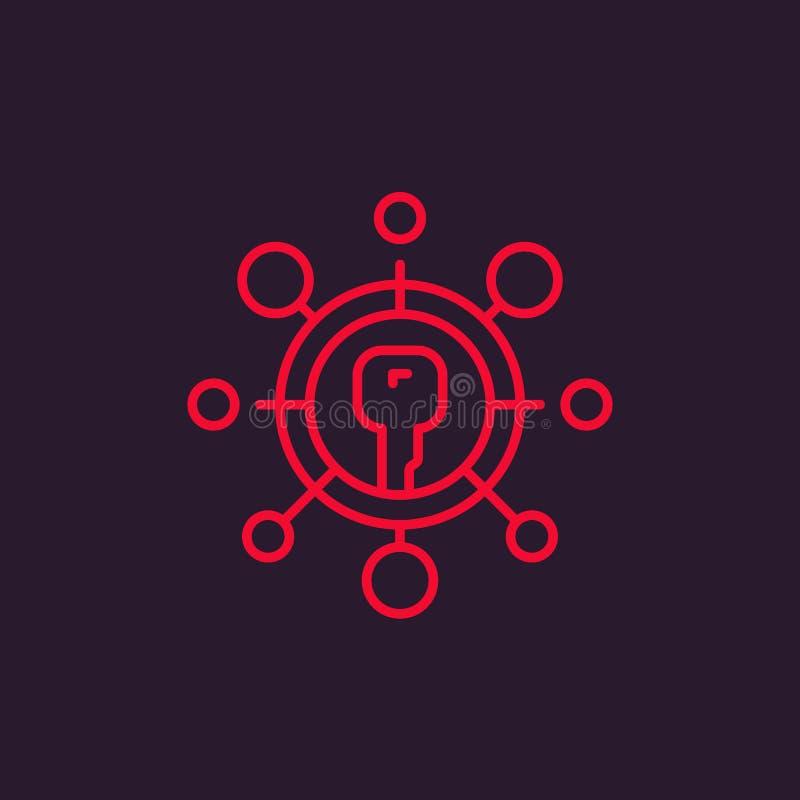 Línea icono del vector de la encripción libre illustration