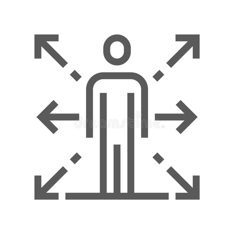 Línea icono del vector de la gestión de recursos humanos carrera Movimiento Editable pixel 48x48 perfecto ilustración del vector